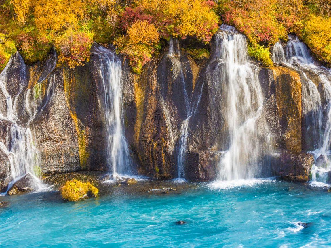 west iceland hraunfossar autumn istk