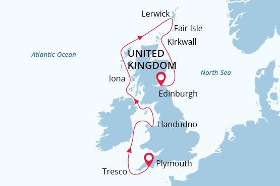 british isles wildlife and history cruise map